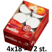 72 stuks witte 10 uur maxi waxinelichten 24/58 Bolsius ( 4 dozen met 18 stuks )