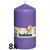 8 stuks violet stompkaarsen 130/70 van Bolsius extra goedkoop in een voordeel verpakking