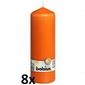 8 stuks oranje stompkaarsen 200/70 van Bolsius extra goedkoop in een voordeel verpakking