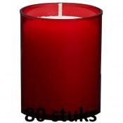 80 stuks Bolsius relight kaars in rood kunststof kaarsenhouder